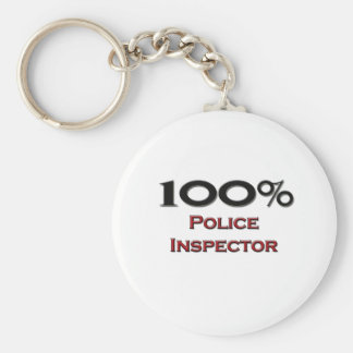100 Percent Police Inspector Basic Round Button Keychain