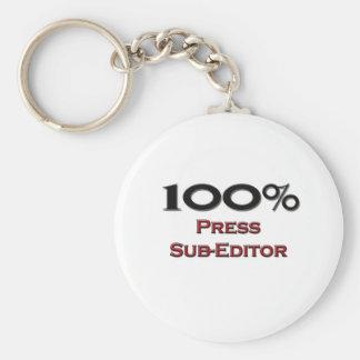 100 Percent Press Sub-Editor Basic Round Button Keychain
