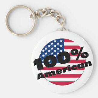 100 Percent Pure American on USA Flag Basic Round Button Keychain