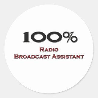 100 Percent Radio Broadcast Assistant Round Sticker