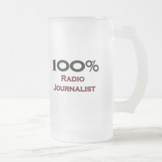 100 Percent Radio Journalist Frosted Glass Beer Mug