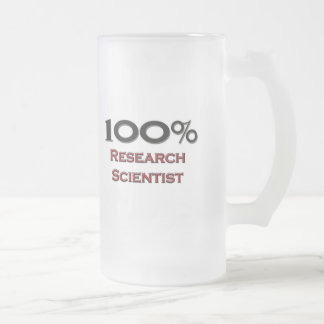 100 Percent Research Scientist Frosted Glass Beer Mug