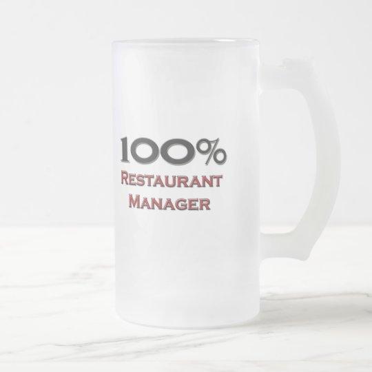 100 Percent Restaurant Manager Frosted Glass Beer Mug