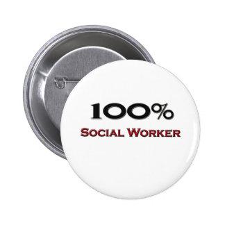 100 Percent Social Worker Pinback Button