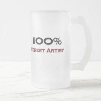100 Percent Street Artist Frosted Glass Beer Mug