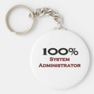 100 Percent System Administrator Basic Round Button Keychain