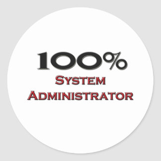 100 Percent System Administrator Round Stickers