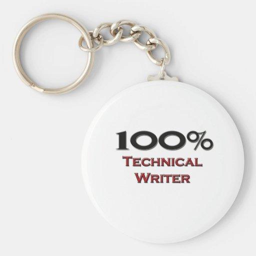100 Percent Technical Writer Key Chain