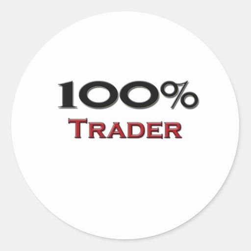 100 Percent Trader Round Sticker