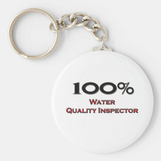 100 Percent Water Quality Inspector Basic Round Button Keychain
