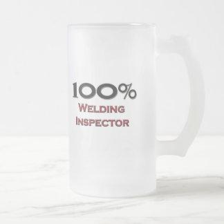 100 Percent Welding Inspector Frosted Glass Beer Mug