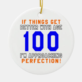 100 Perfection Birthday Designs Double-Sided Ceramic Round Christmas Ornament