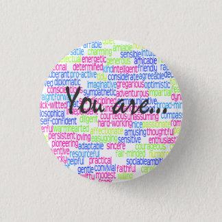 100 Positive Words that Describe You! Pinback Button