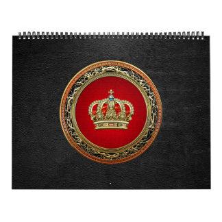 [100] Príncipe-Princesa Rey-Reina Crown [oro] Calendario