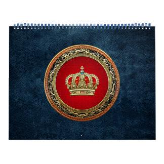 [100] Príncipe-Princesa Rey-Reina Crown [oro] Calendario De Pared