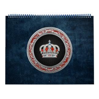 [100] Príncipe-Princesa Rey-Reina Crown [plata] Calendario