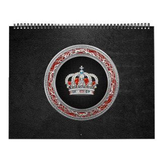 [100] Príncipe-Princesa Rey-Reina Crown [plata] Calendarios