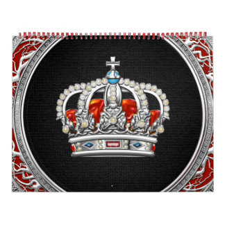 [100] Príncipe-Princesa Rey-Reina Crown [plata] Calendarios De Pared