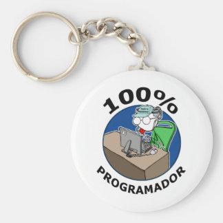 100% Programmer Basic Round Button Keychain