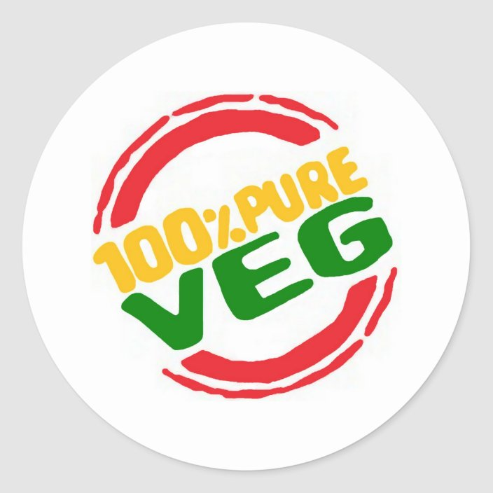 100 Pure Veg Classic Round Sticker Zazzle Com