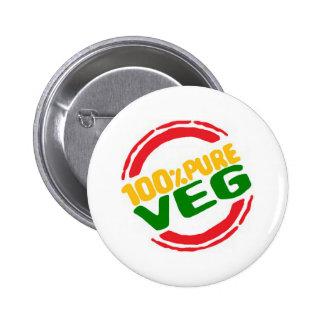 100% Pure Veg Pinback Button