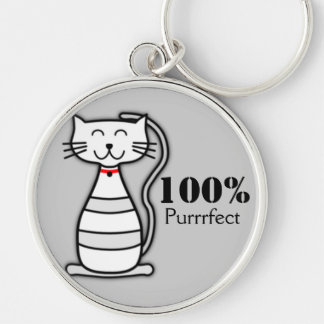 100% Purrrfect Kitty Keychain