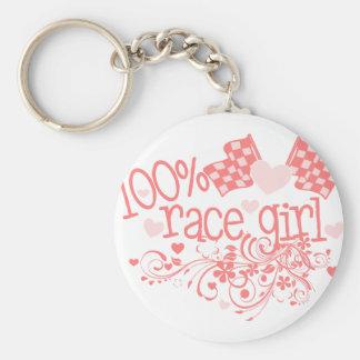 100% Race Girl Basic Round Button Keychain