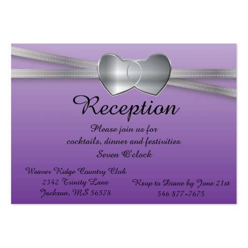 100 Reception Cards Passion Purple Business Card Template