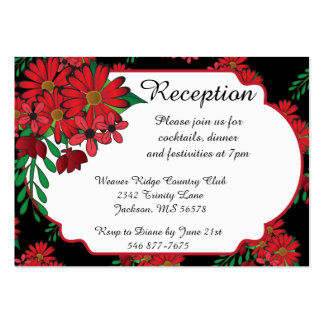 100 Reception Cards- So Red Floral Business Card Template