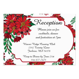 100 Reception Cards- So Red Floral Business Card