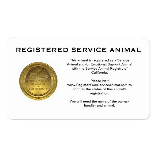 100 Registered Service Animal Business Cards