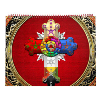 [100] Rosy Cross (Rose Croix) on Red & Gold Calendar