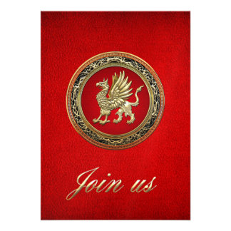 [100] Sacred Gold Griffin Personalized Invitations