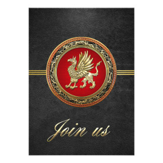 [100] Sacred Gold Griffin Personalized Invites
