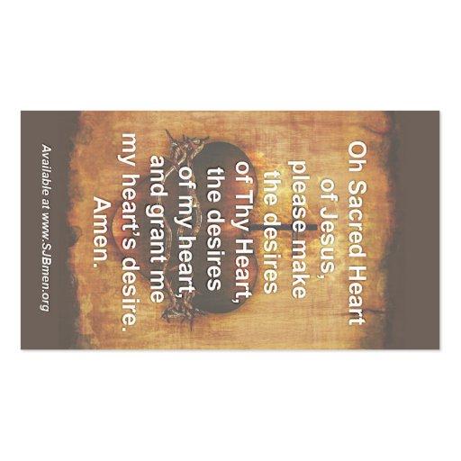 100 Sacred Heart Prayer Cards Business Card Templates