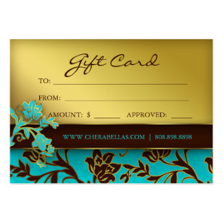 100 Salon Gift Card Spa Gold Floral BB Business Card Template