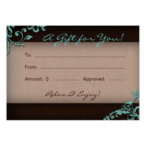 /100 Salon Gift Card Spa Linen Floral Brown Blue Business Cards