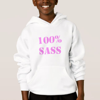 100% sass - pink stencil letters hoodie