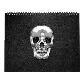 [100] Silver Human Skull Calendar