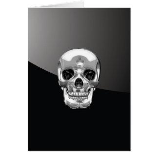 [100] Silver Human Skull Card