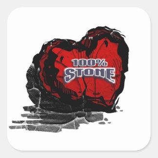 100% Stone Heart Square Sticker