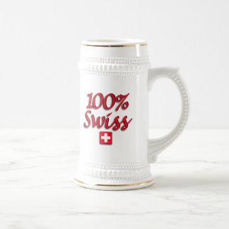 100% Swiss Beer Stein Coffee Mug