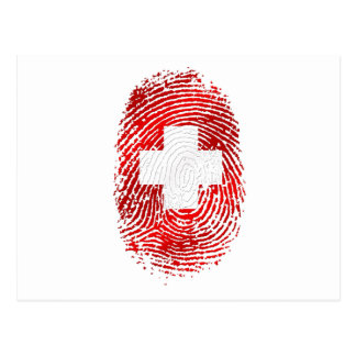 100% Swiss DNA fingerprint Switzerland flag gifts Post Cards