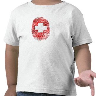 100 Swiss DNA fingerprint Switzerland flag gifts Tee Shirt