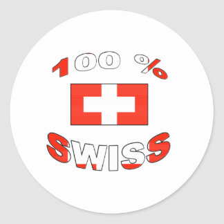 100% Swiss Round Stickers