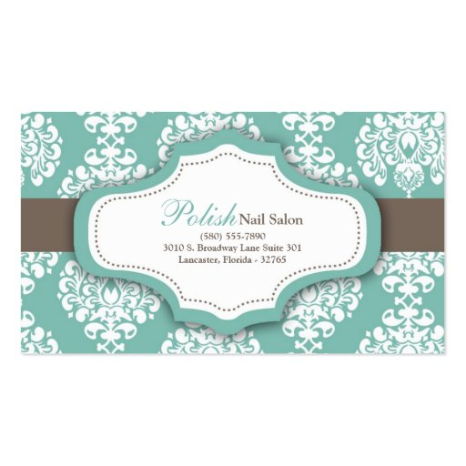 100 Teal Damask Nail Technician Business Card