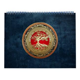 [100] Tesoro: Árbol de la vida céltico [oro] Calendario De Pared