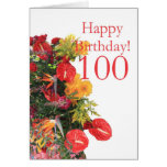100 th birthday red yellow bouquet greeting cards