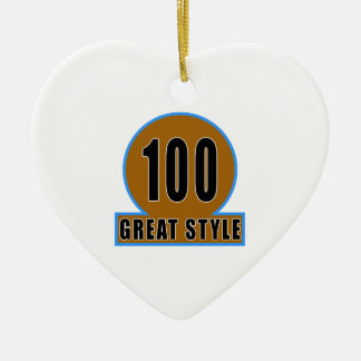 100 The Style Birthday Designs Double-Sided Heart Ceramic Christmas Ornament