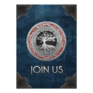 100 Treasure Trove Celtic Tree of Life Silver Personalized Invitation